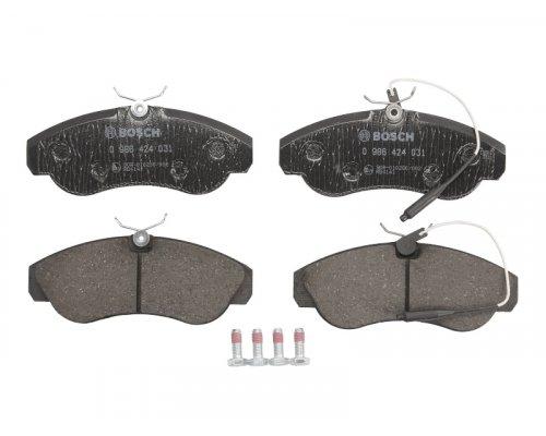 Тормозные колодки передние (с датчиком, R16) Fiat Ducato / Citroen Jumper / Peugeot Boxer 1994-2002 0986424031 BOSCH (Германия)