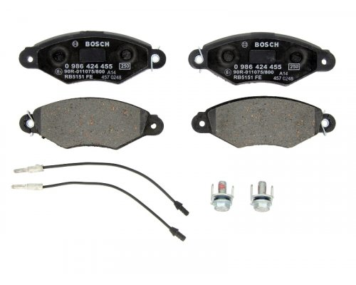 Тормозные колодки передние (с датчиками) Renault Kangoo / Nissan Kubistar 97-08 0986424455 BOSCH (Германия)