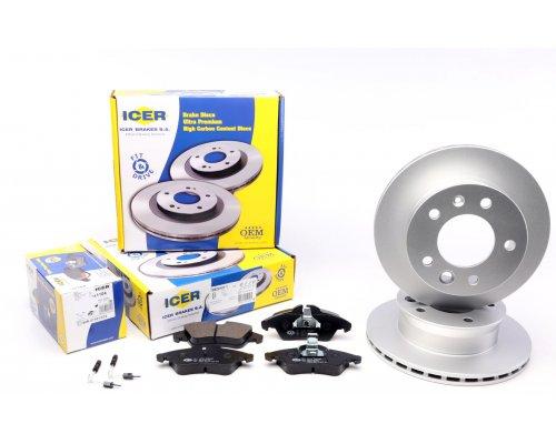Тормозной диск передний (276х22мм, + колодки с датчиками) VW LT 28-46 1996-2006 31104-0181 ICER (Испания)
