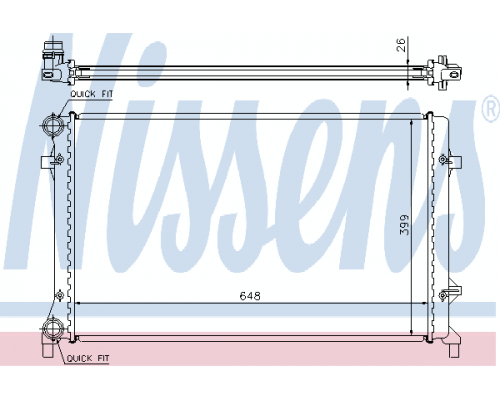 Радиатор охлаждения (648x399x26мм) VW Caddy III 1.4 / 1.6 / 2.0 / 2.0SDI 2004-2015 65277A NISSENS (Дания)