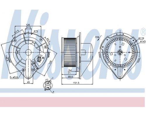 Моторчик печки (с кондиционером, вращение против часовой стрелки) VW Transporter T4 1990-2003 87066 NISSENS (Дания)