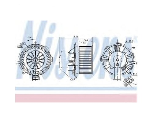 Моторчик печки (без кондиционера) VW Crafter 2006- 87106 NISSENS (Дания)