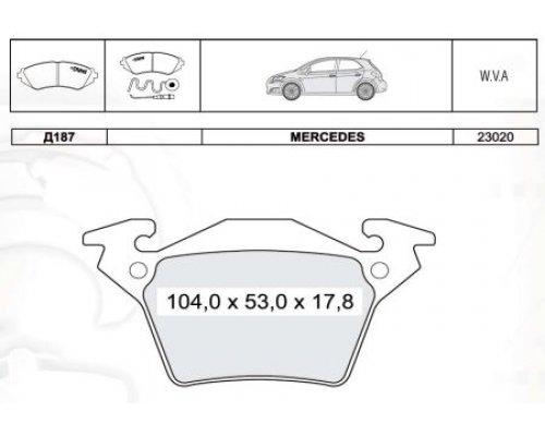 Тормозные колодки задние без датчика (система BOSCH) MB Vito 638 1996-2003 D187E INTELLI (Украина)